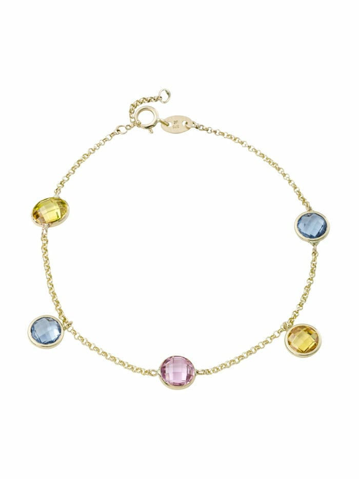 amor Armband für Damen, Gold 375, Zirkonia, Pink