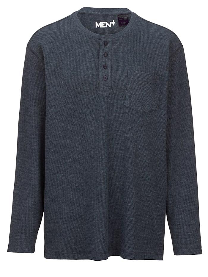 Men Plus Henley Langarmshirt in melierter Optik, Marineblau