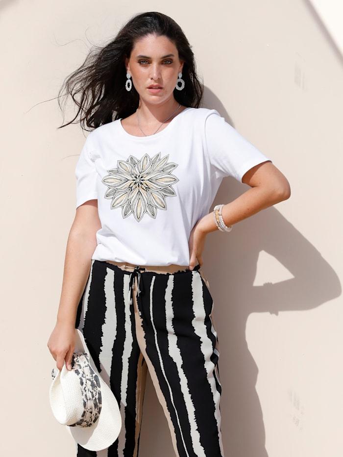 MIAMODA Shirt mit platziertem Glitzerdruck, Off-white