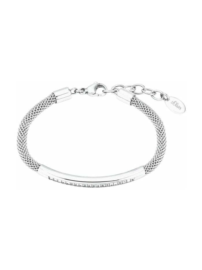 s.Oliver Armband für Damen, Edelstahl, Kristallglas, Silber