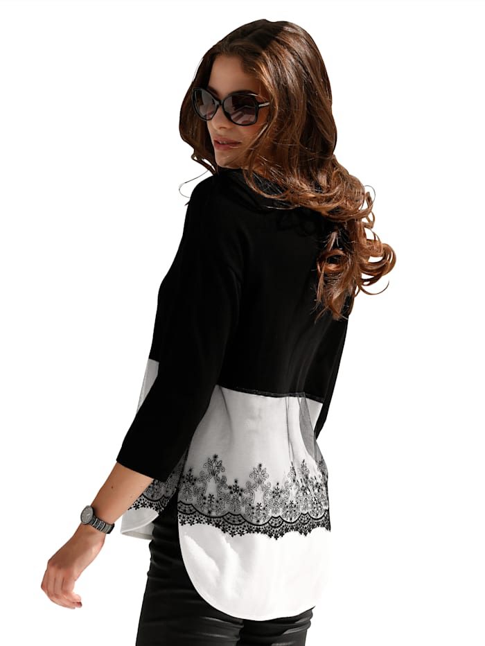 Pullover mit besticktem Netzeinsatz
