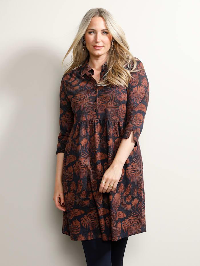 MIAMODA Kleid mit Hemdkragen, Marineblau/Rost/Rot