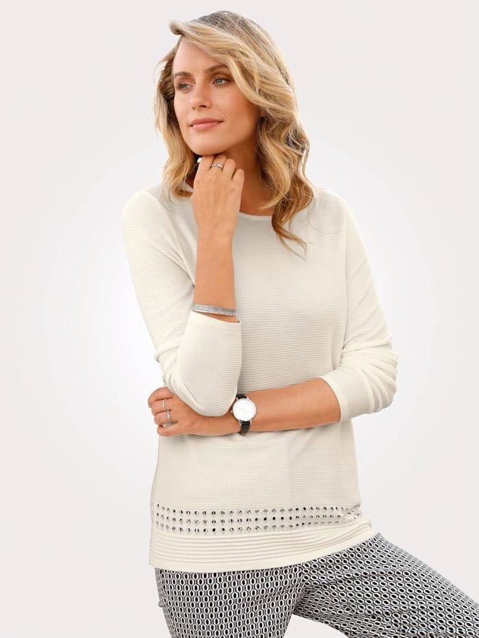 MONA Pullover mit Ajour-Details, Weiß