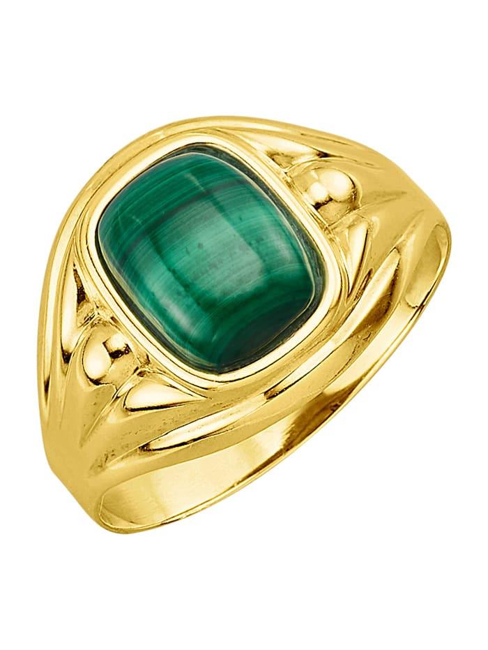 Herrenring in Silber 925, vergoldet, Grün
