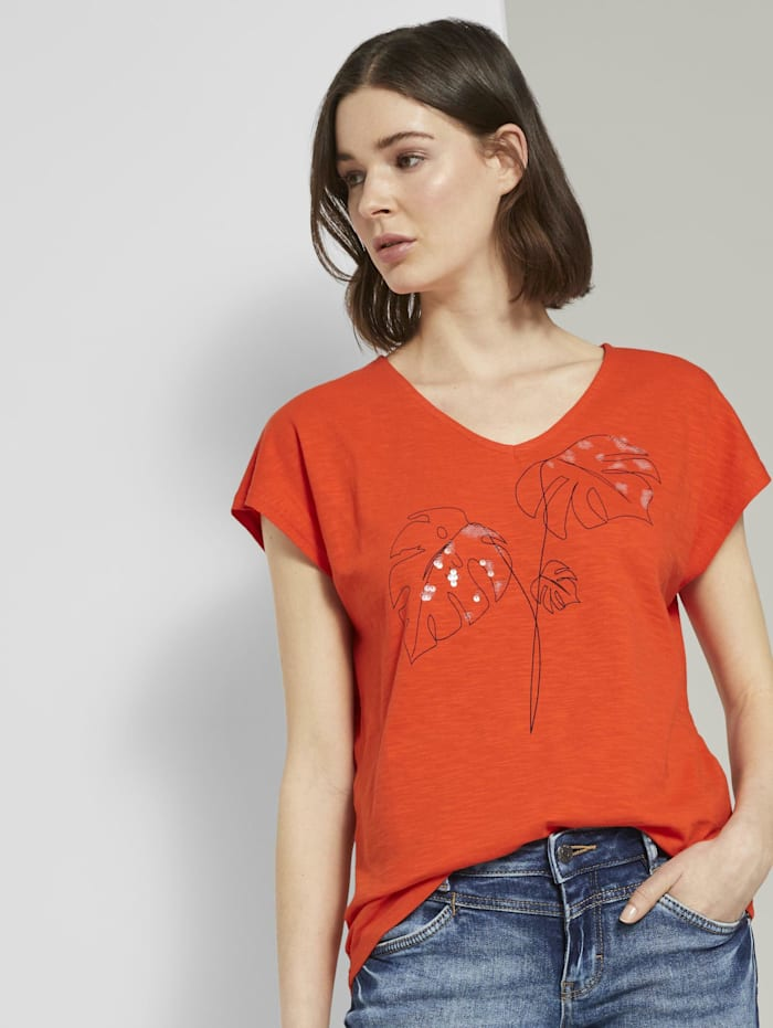 Tom Tailor T-Shirt mit Artwork und V-Ausschnitt, strong flame orange