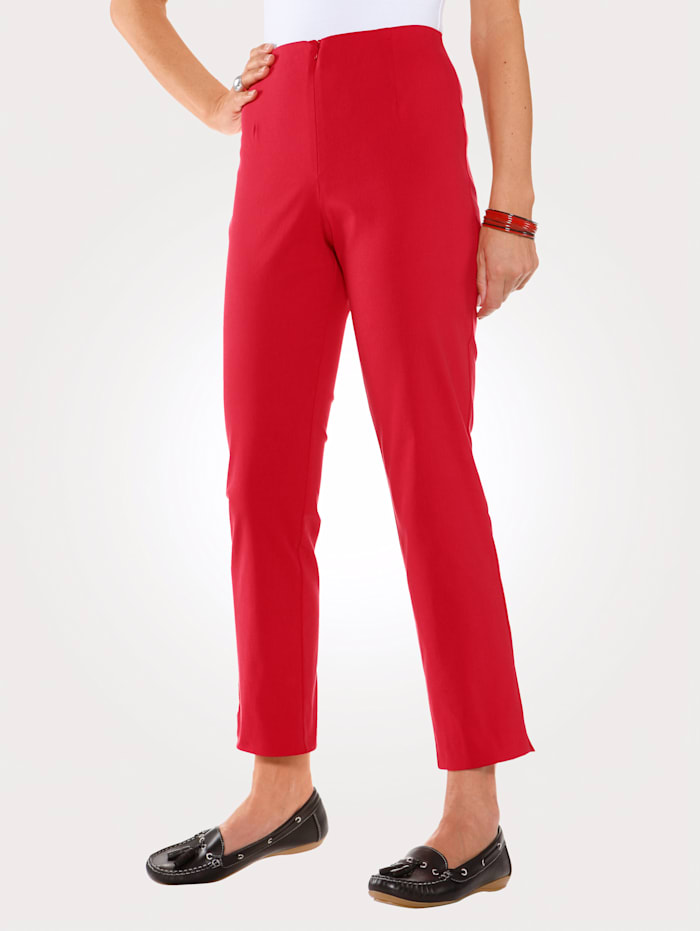 MONA Ankle length trousers made from a cotton blend, Red