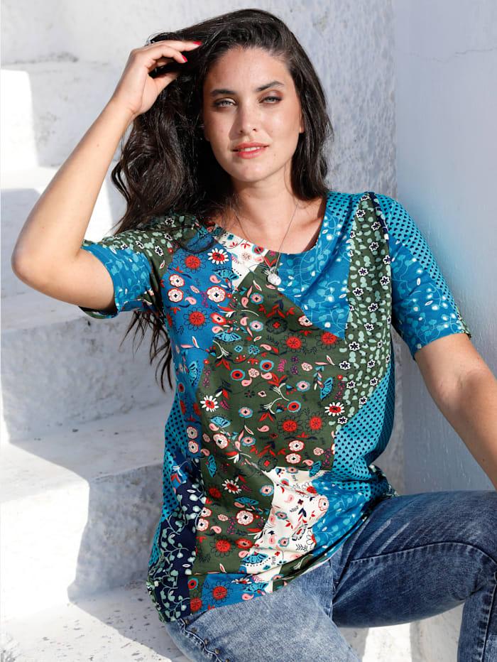 MIAMODA T-shirt à imprimé floral, Bleu