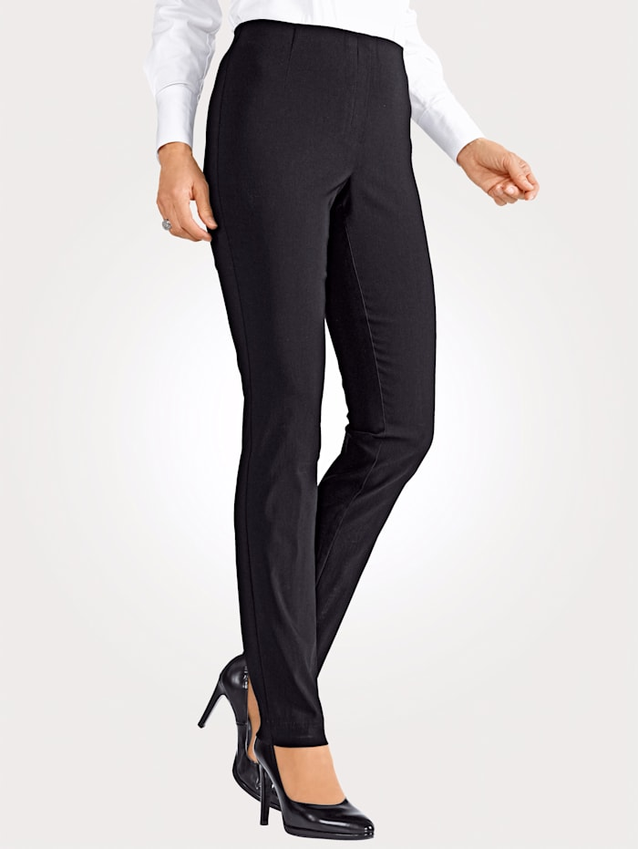 MONA Pull-on trousers made from a soft stretch fabric, Black
