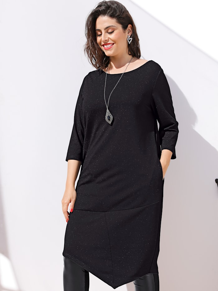 MIAMODA Longshirt mit femininem Ausschnitt, Schwarz