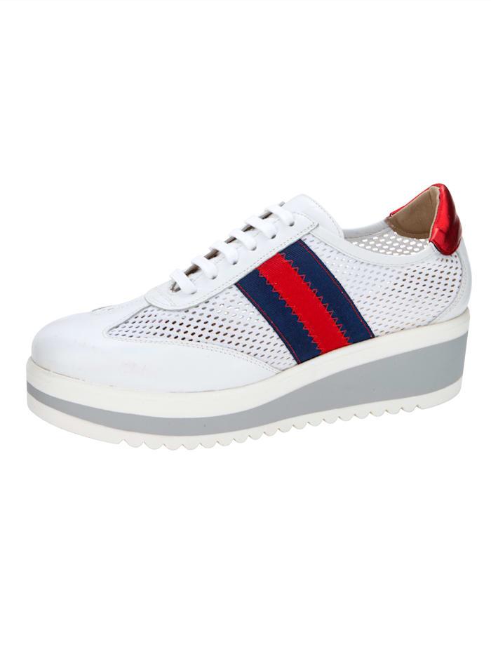 Sneakers med perforering, Hvit/Rød/Marine