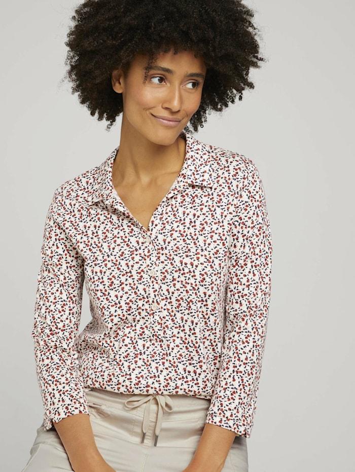 Tom Tailor Gemustertes Henleyshirt mit TENCEL(TM) Modal, beige maroon blue minimal