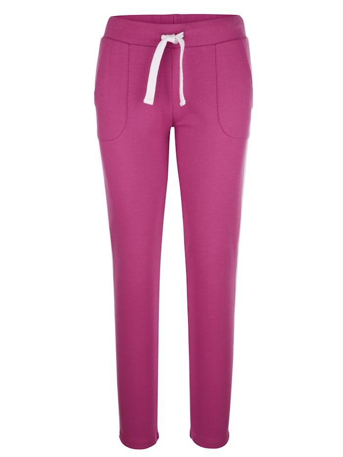 Louis & Louisa Sportovní kalhoty po stranách s kontrastními proužky, Růžová/Bílá