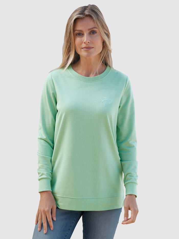 basically you Sweatshirt mit kleiner Sickerei, Salbeigrün