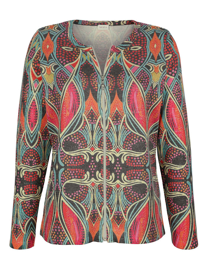 Cardigan with a bold print