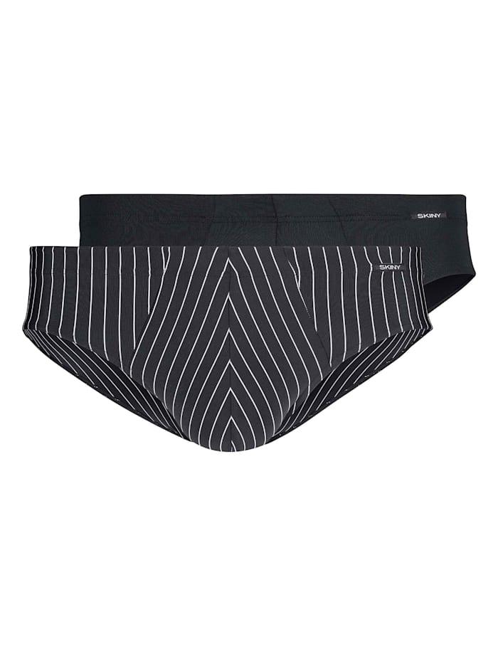 Skiny Slip, 2er-Pack, Blackstripe Selection