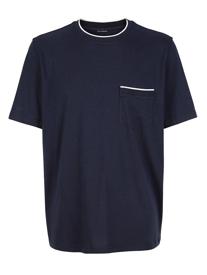 Roger Kent T-shirt met contrastkleurige details, Marine