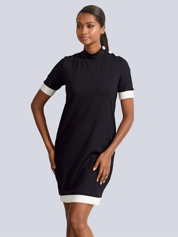 Alba Moda Jerseykleid mit Deko-Knöpfen, Schwarz/Weiß