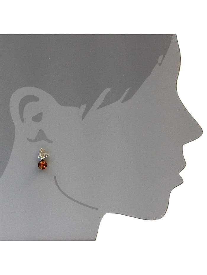Ohrstecker - Schmetterling - Silber 925/000 - Bernstein
