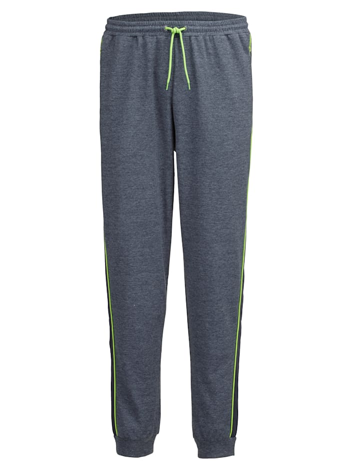 Men Plus Joggingbyxor i melerat material, Marinblå/Neongrön