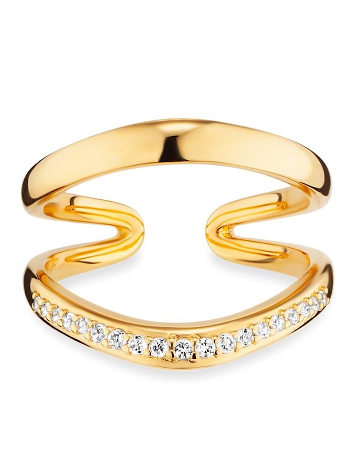 CAI Ring 925/- Sterling Silber Topas weiß Glänzend 0,004ct/pc. 925/- Sterling Silber, gelb