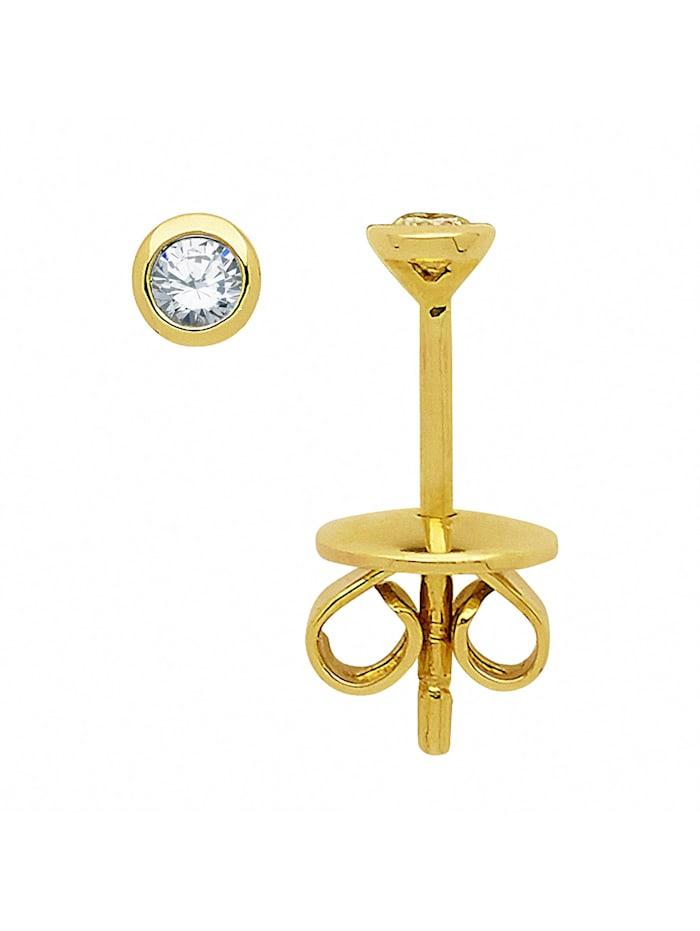 1001 Diamonds Damen Goldschmuck 585 Gold Ohrringe / Ohrstecker mit Brillant Ø 3,1 mm, gold