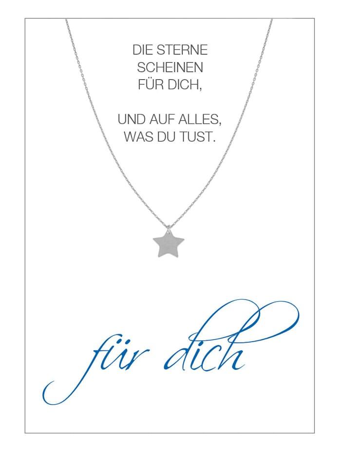Herzkarte Stern-Collier, Silberfarben