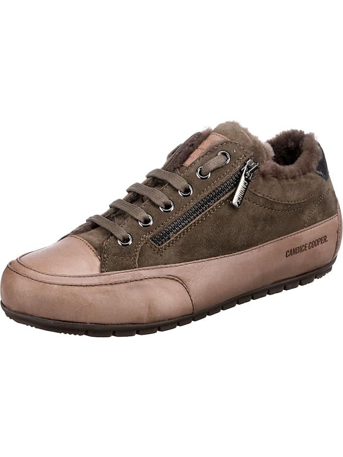 Candice Cooper Rock Deluxe Zip Fur Sneakers Low, oliv