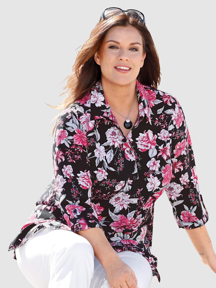 m. collection Bluse mit Blüten-Druckmuster rundum, Schwarz/Pink/Weiß