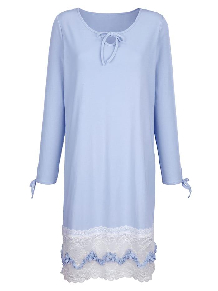 Simone Nachthemd van comfortabele geribde jersey, Lichtblauw/Ecru