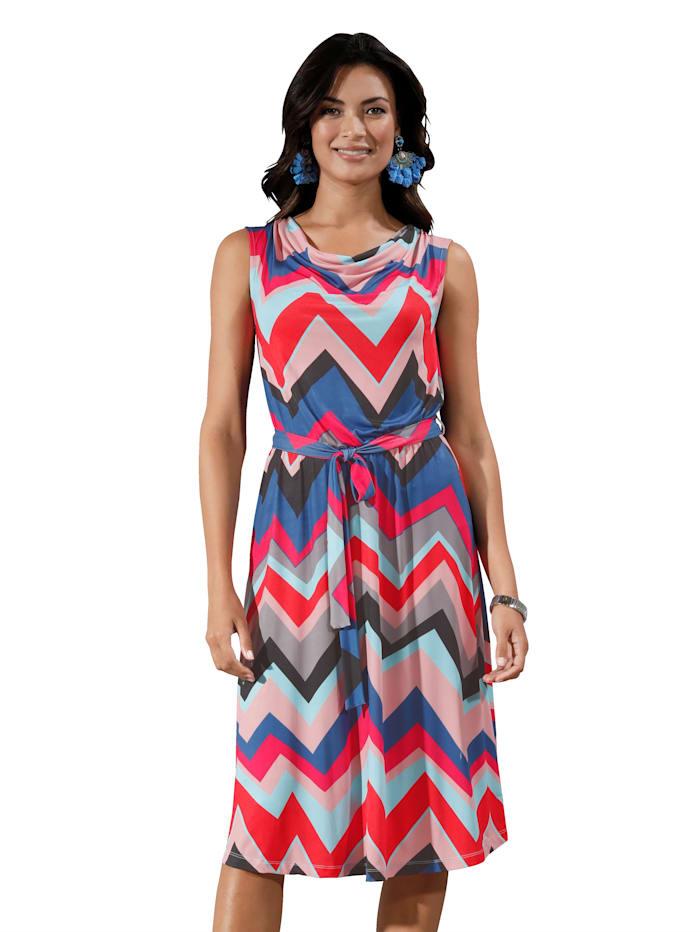 AMY VERMONT Jersey jurk met watervalhals, Blauw/Rood/Roze