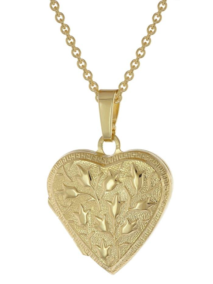 trendor Medaillon Herz mit Kette Gold plattiertes 925 Silber, Goldfarben