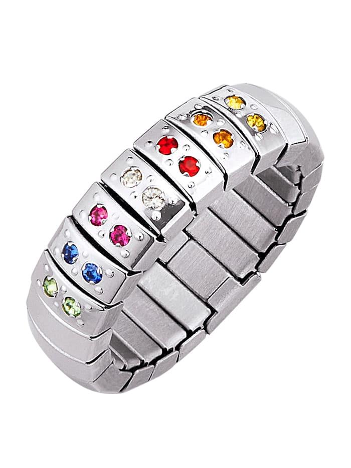 Magnetic Balance Damenring mit mehrfarbigen Kristallen, Silberfarben