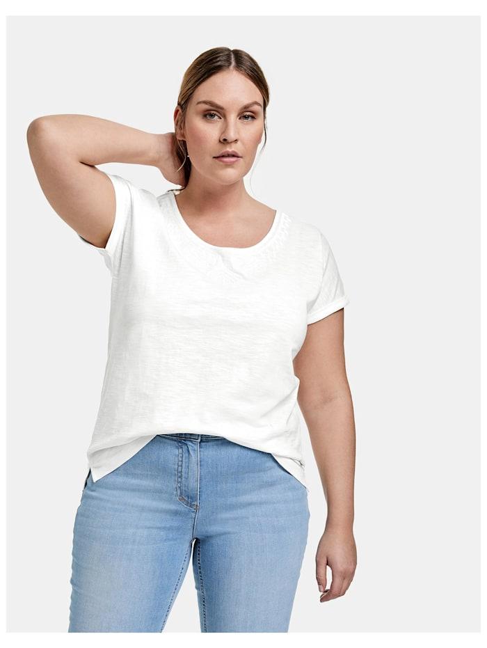 Samoon T-Shirt mit Stickerei aus GOTS zertifizierter Bio-Baumwolle, Offwhite