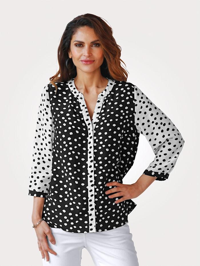 MONA Bluse mit Tupfen-Dessin in schwarz und weiß, Schwarz/Weiß