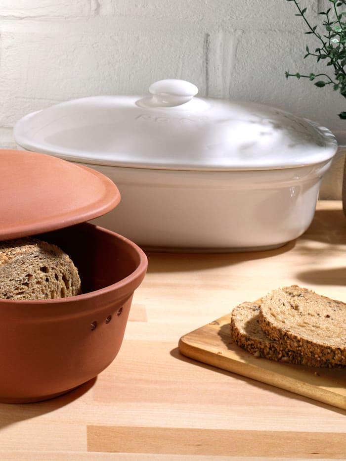 Römertopf Ovaler Brot-Frische-Topf 'Medium', weiß, weiß