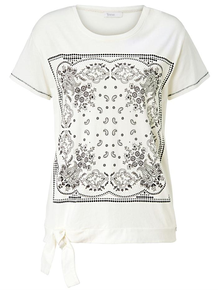 Yerse T-Shirt Mit folkloristischem Frontprint, Weiß