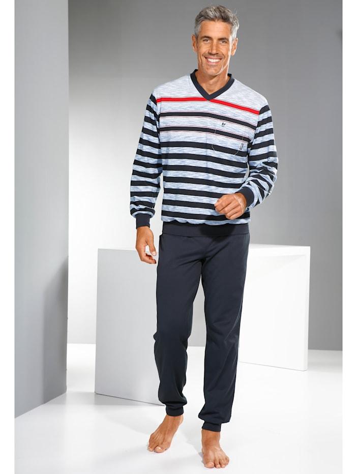 Pyjamas med garnfargede striper
