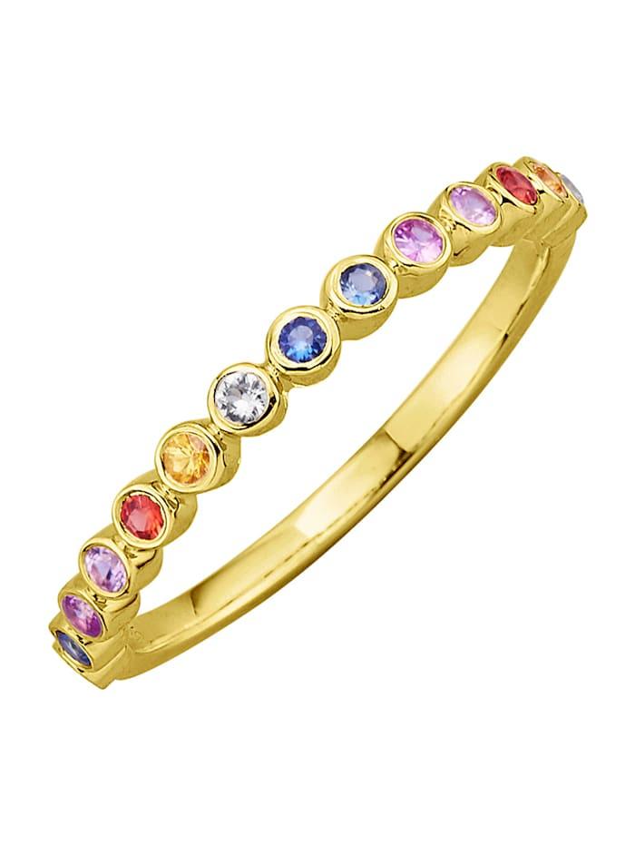 Diemer Farbstein Damenring mit Saphiren, Multicolor
