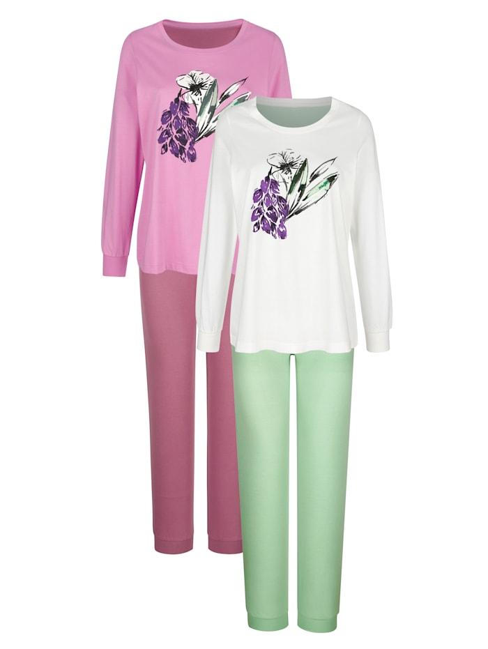 Harmony Pyjama's per 2 stuks met grote bloemenprint, Fuchsia/Lindegroen/Mauve