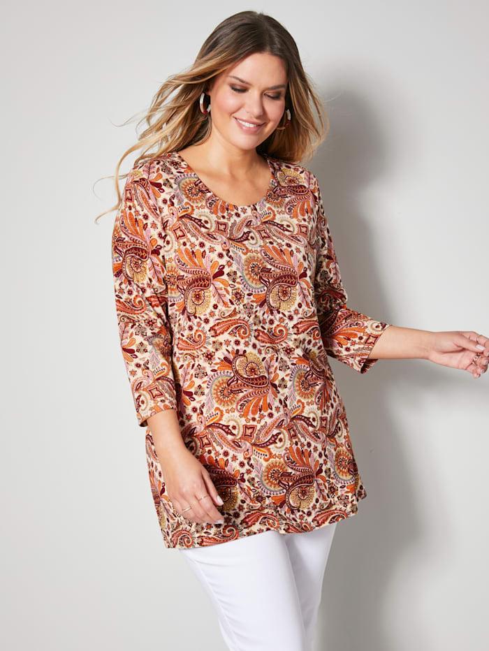 Janet & Joyce Shirt mit schönem Paisley Muster, Orange/Off-white