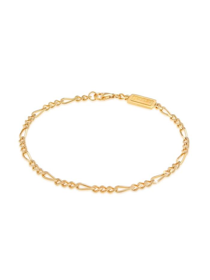 Kuzzoi Armband Männer Figaro Massiv Basic 925Er Silber, Gold