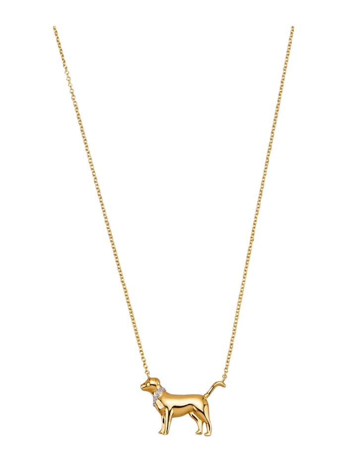 "Amara Or Collier ""Chien"" à 5 diamants, Coloris or jaune"