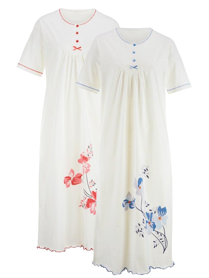 Harmony Nachthemden met contrastnaden, Ecru/Rood/Blauw