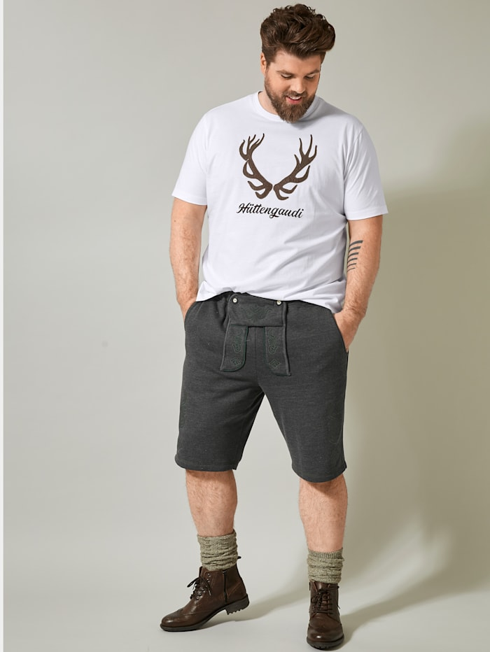 Men Plus T-Shirt mit Applikation und Print, Weiß