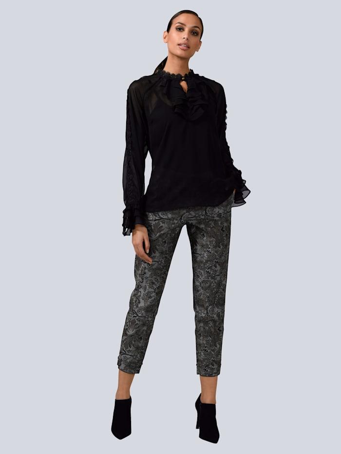 Alba Moda Blúzka s čipkovými detailmi, Čierna