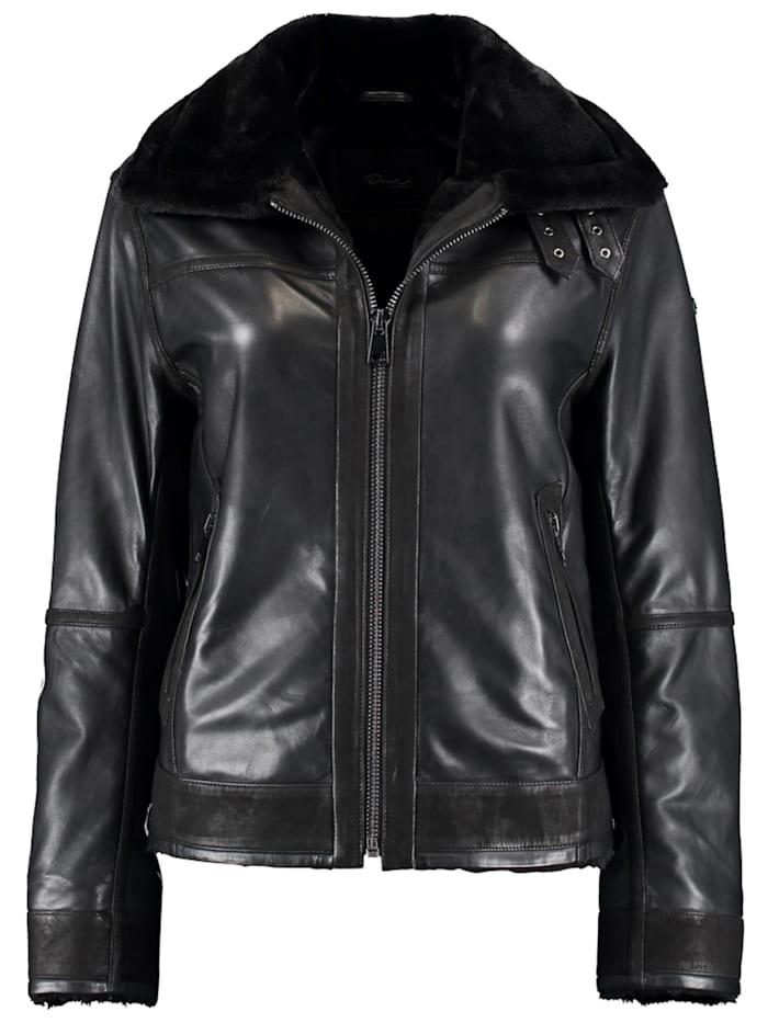 DNR Jackets Damen Lederjacke mit Kunstfelleinsatz und Außentaschen, Black