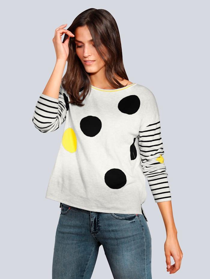 OUI Pullover mit großen Punkten, Grau
