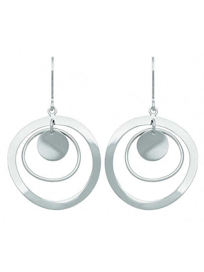 1001 Diamonds Damen Silberschmuck 925 Silber Ohrringe / Ohrhänger Ø 27 mm, silber