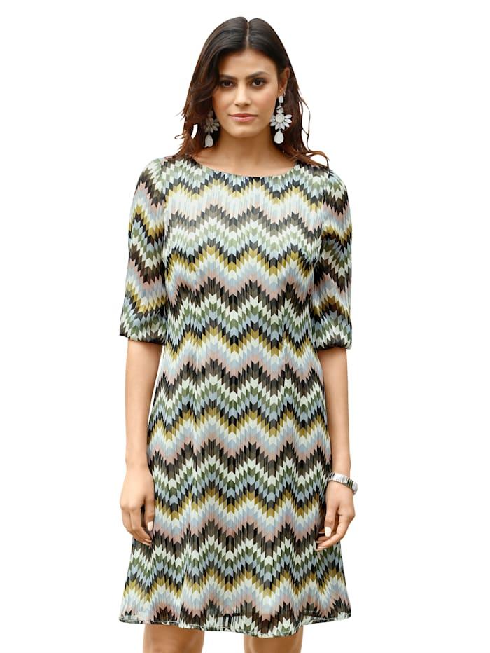 AMY VERMONT Kleid mit Zick-Zack-Muster allover, Rosé/Hellblau/Grün
