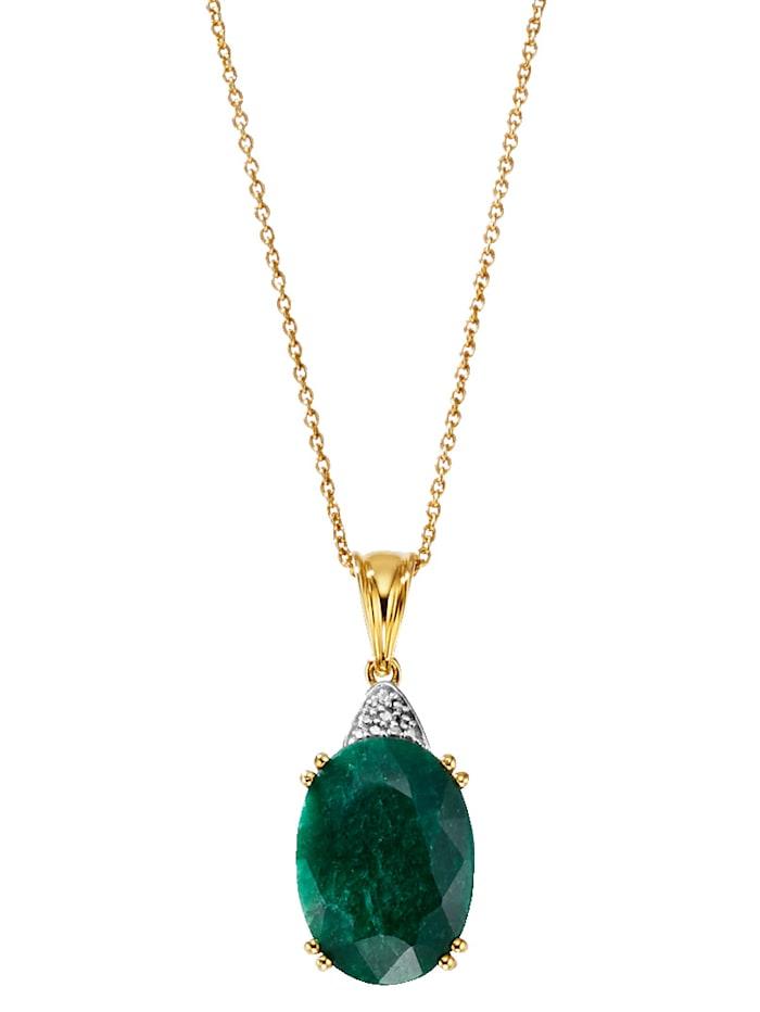 Hanger met smaragd en ketting, Groen